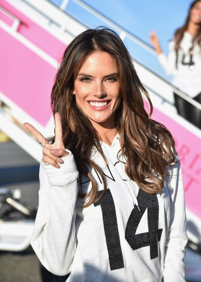 Alessandra Ambrosio – Fly to London for Victoria's Secret Fashion Show 2014