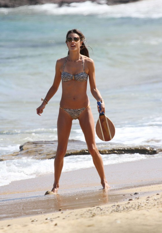 Alessandra Ambrosio Bikini Photos: in a animal print bikini in Greece -11