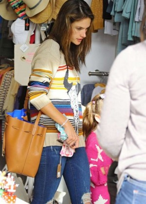 Alessandra Ambrosio in Ripped Jeans Shopping in Venice