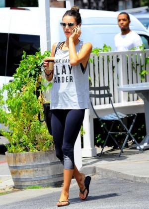 Alessandra Ambrosio in Spandex at the Brentwood Country Mart
