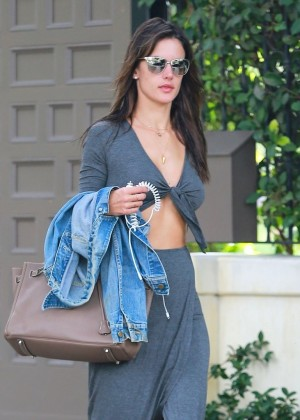Alessandra Ambrosio - leaving her home