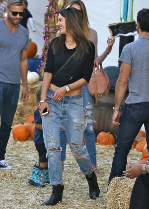 Alessandra Ambrosio in Ripped Jeans at Mr. Bones Pumpkin Patch in West Hollywood