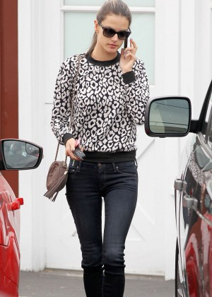 Alessandra Ambrosio in tight jeans out in Brentwood