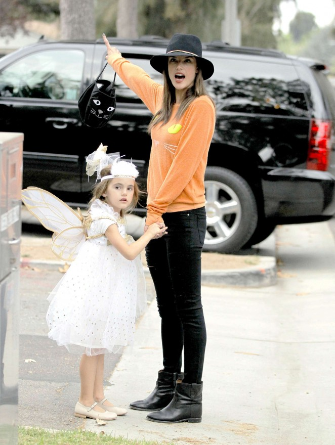 Alessandra Ambrosio - Takes her daughter trick or treating in LA