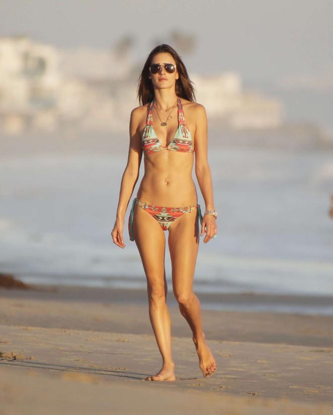 Alessandro Ambrosio in Bikini on Beach in Malibu