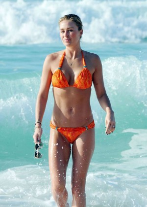 Alex Gerrard in Orange Bikini at a Beach in Dubai