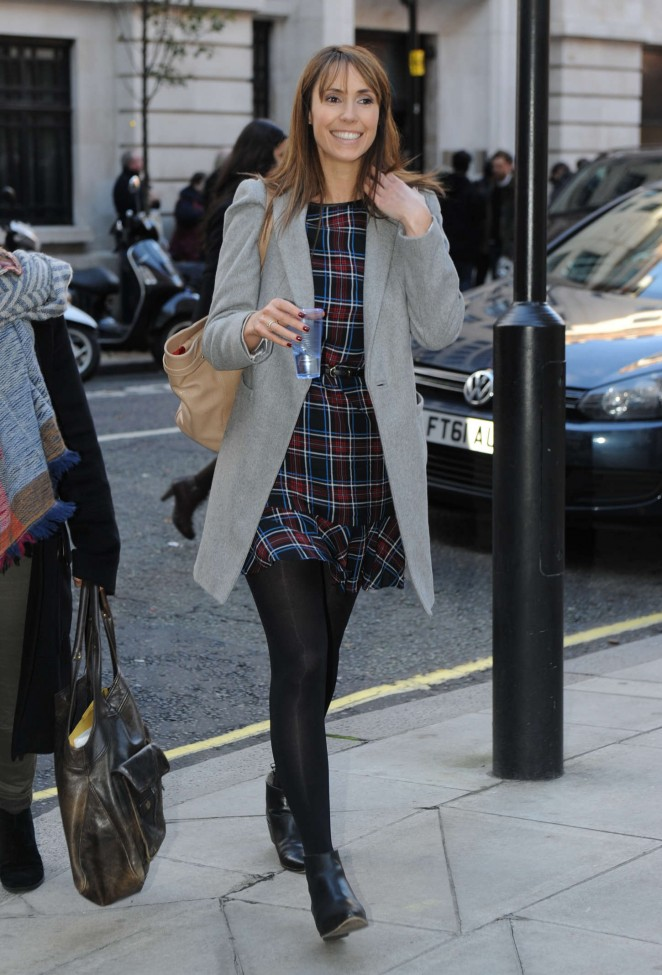 Alex Jones in Mini Dress out in London