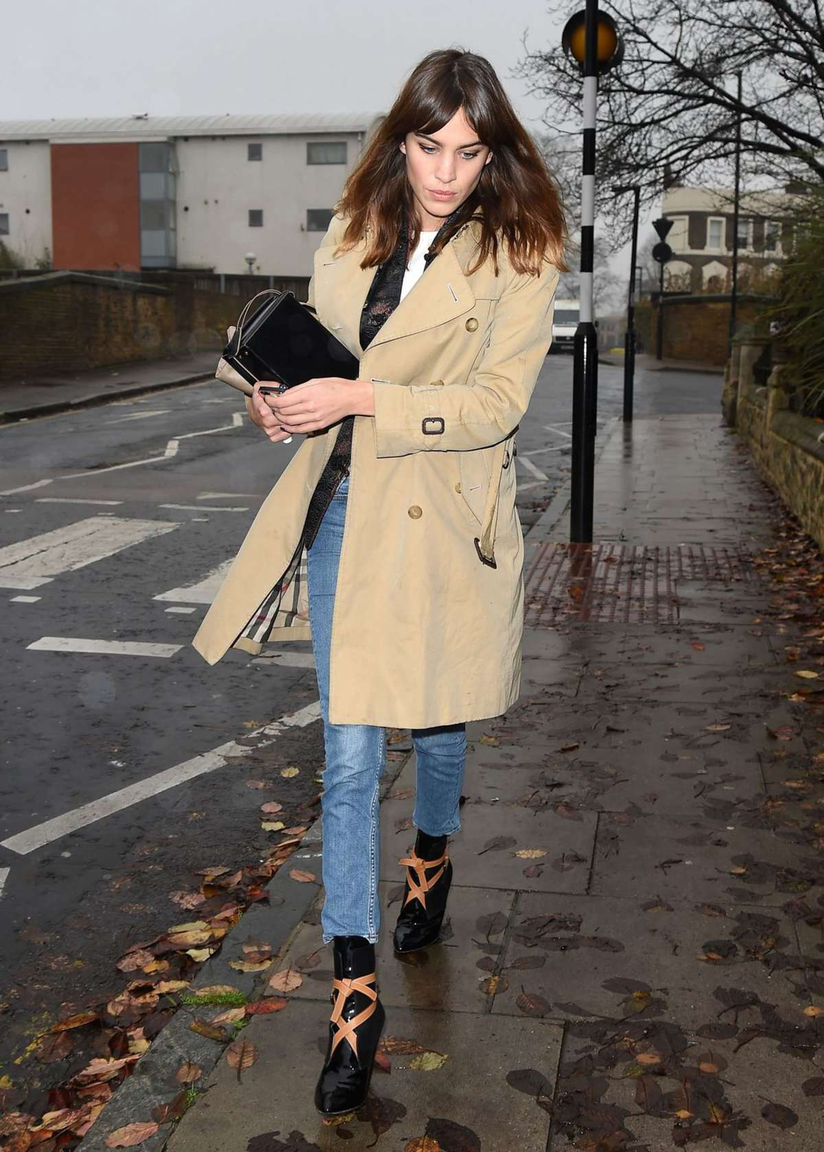 Alexa Chung in Jeans and Coat out in London