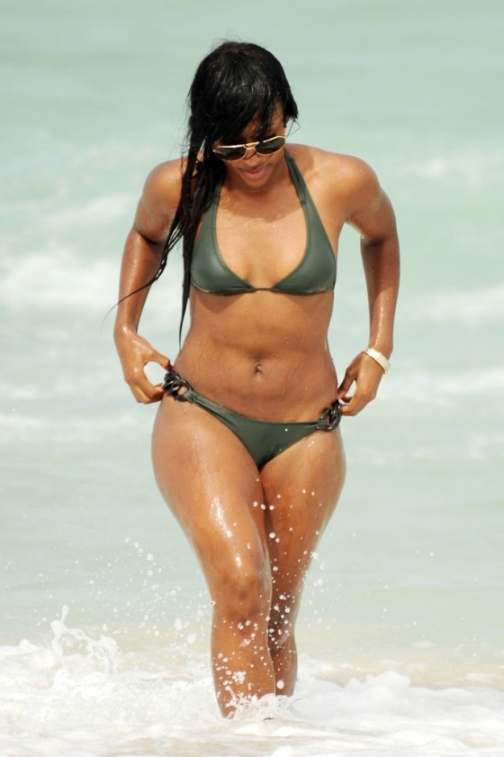 Alexandra Burke - bikini on the beach in Miami