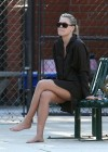 Ali Larter showing legs at a park in Los Angeles