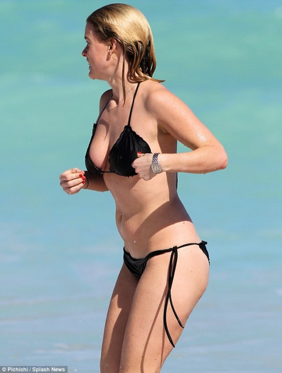 Alice Eve - wearing a bikini at a beach in Miami
