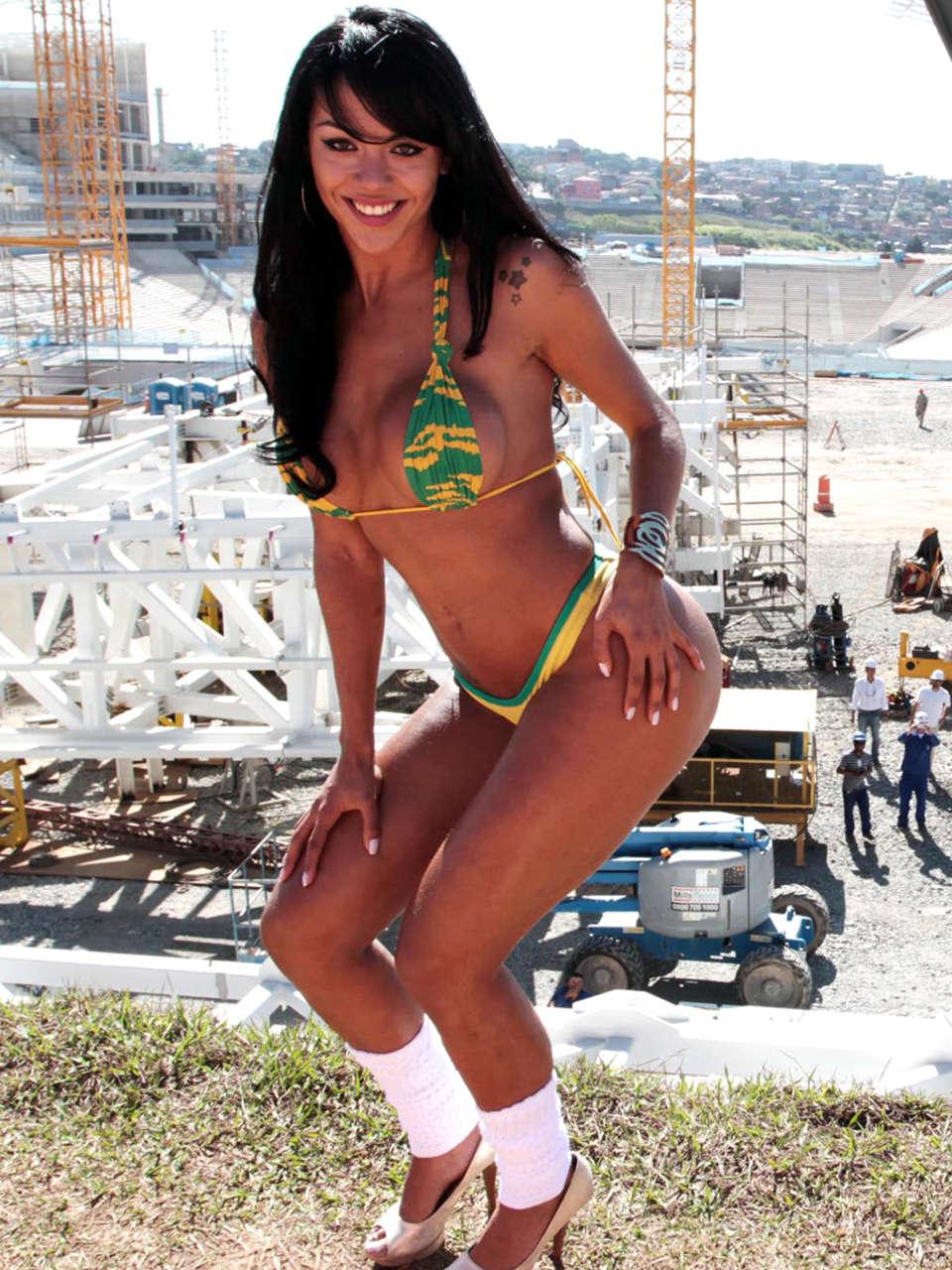 Aline Bernardes Bikini Photoshoot In Front Of World Cup