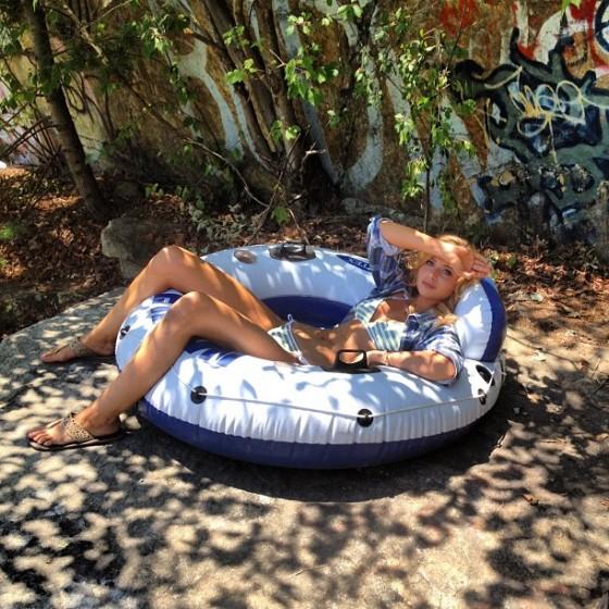 Alyson Aly Michalka - Wearing a bikini on the set of Grown