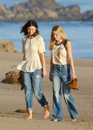Aly and AJ Michalka in Jeans at Beach in Malibu