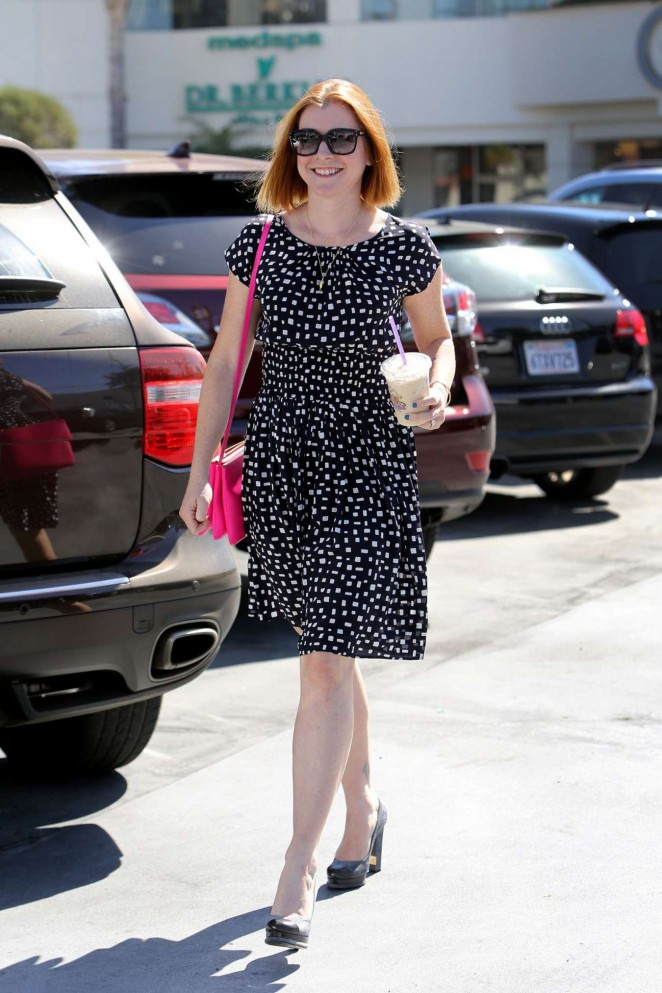 Alyson Hannigan in Mini Dress out in Los Angeles