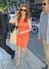 Alyssa Milano Hot in orange dress out in New York -01