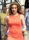 Alyssa Milano Hot in orange dress out in New York -03