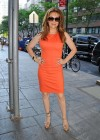 Alyssa Milano Hot in orange dress out in New York -04