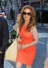 Alyssa Milano Hot in orange dress out in New York -05