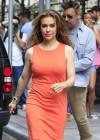 Alyssa Milano Hot in orange dress out in New York -06