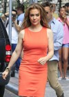 Alyssa Milano Hot in orange dress out in New York -07