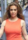 Alyssa Milano Hot in orange dress out in New York -08