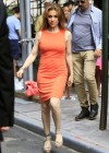 Alyssa Milano Hot in orange dress out in New York -09