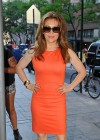 Alyssa Milano Hot in orange dress out in New York -10
