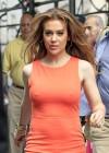 Alyssa Milano Hot in orange dress out in New York -12