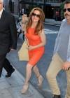 Alyssa Milano Hot in orange dress out in New York -13