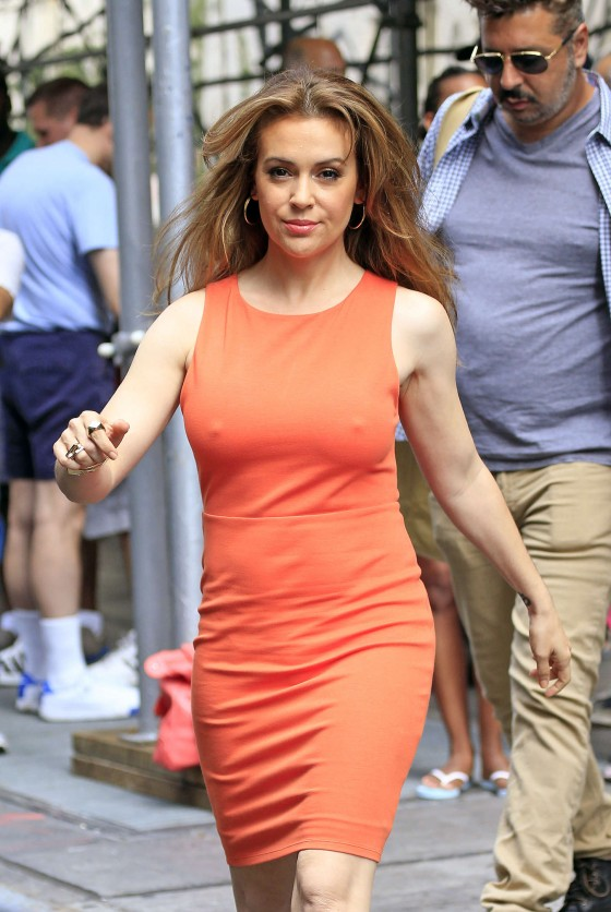 Alyssa Milano Hot in orange dress out in New York -14