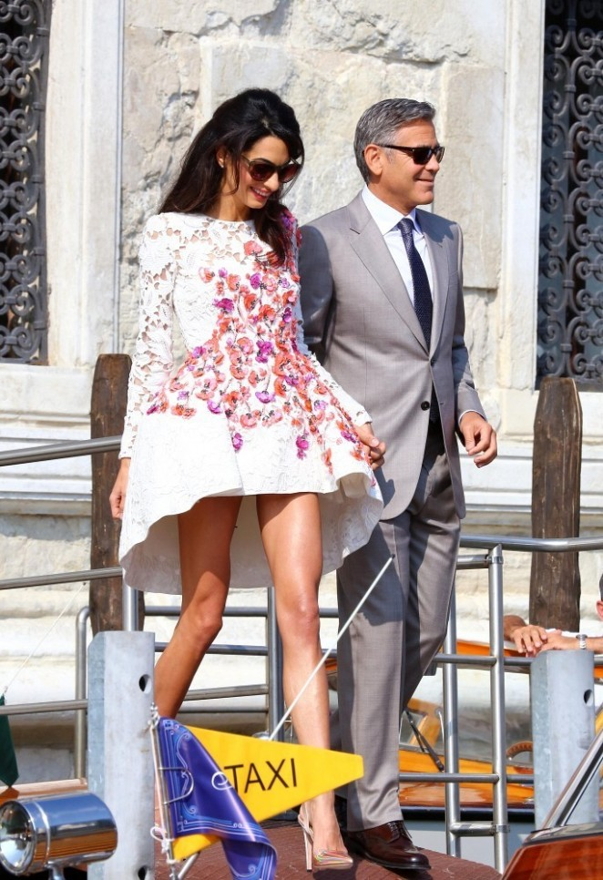 Amal Alamuddin in floral lace dress out in Venice