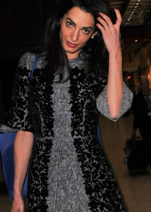 Amal Clooney - Arrives at Heathrow Airport in London