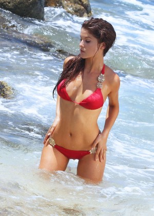 Amanda Cerny - wearing a red bikini filming music video in Aruba
