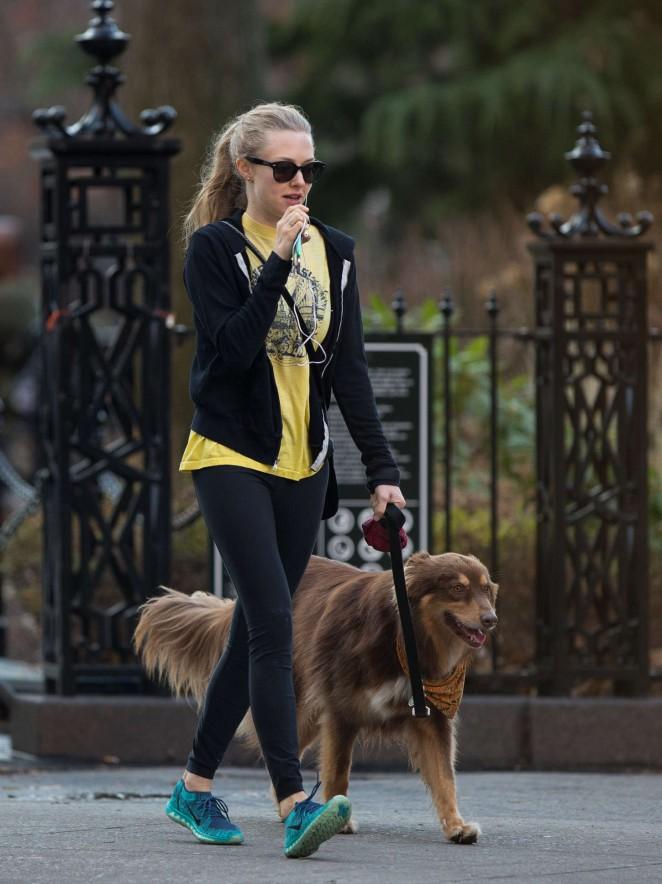 Amanda Seyfried in Spandex - Walking her dog in NYC