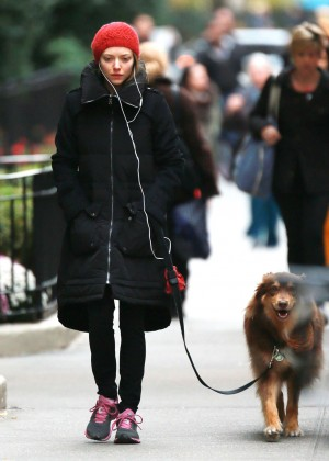 Amanda Seyfried - Walking her dog in NYC