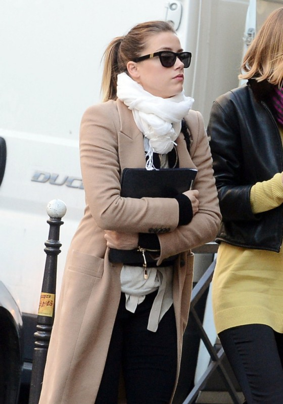 Amber Heard - Candids leaves her hotel in Paris
