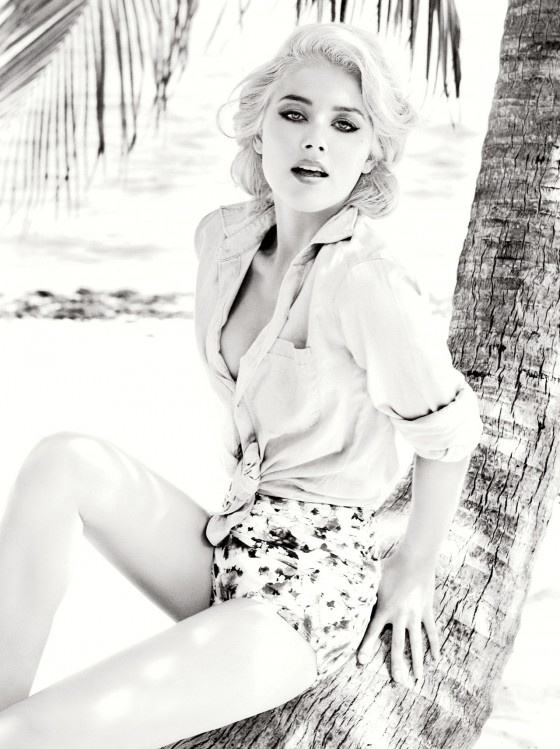 Amber Heard shows her legs and cleavage in new shoot for Guess Summer 2012