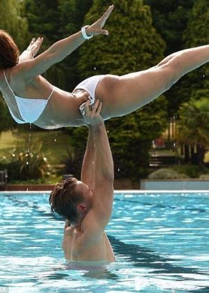 Amelle Berrabah in White Bikini - Training for Tumble Reality Show