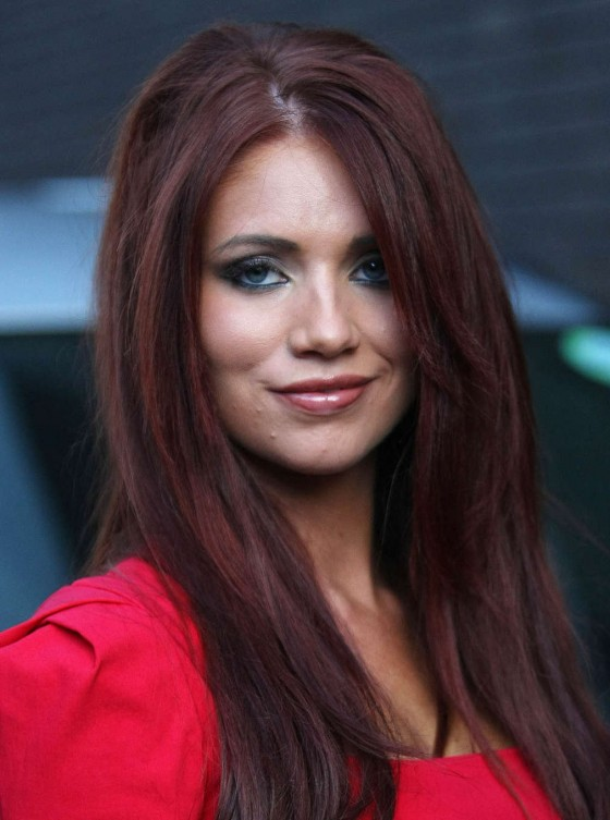 Amy Childs Hot In Red Dress in London-02