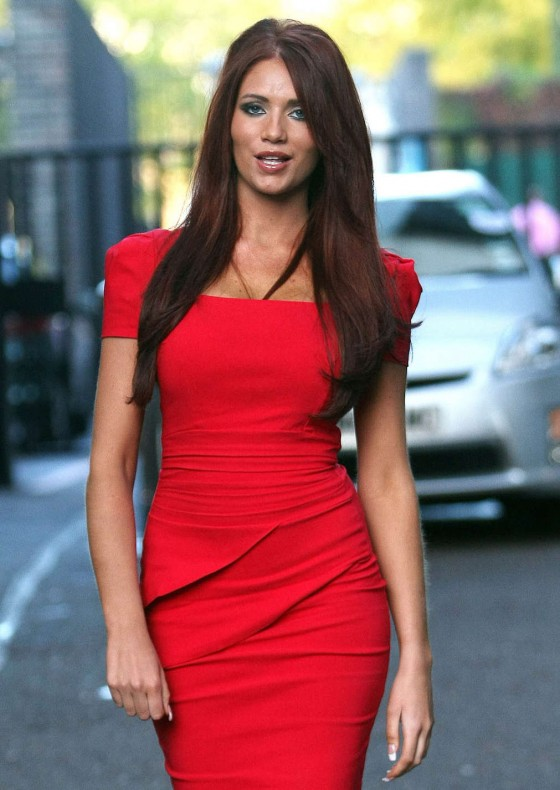 Amy Childs Hot In Red Dress in London-07