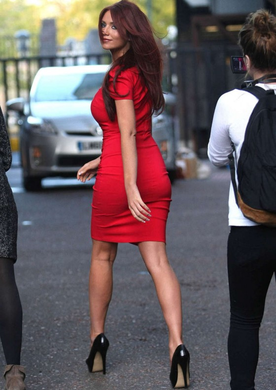 Amy Childs Hot In Red Dress in London-08