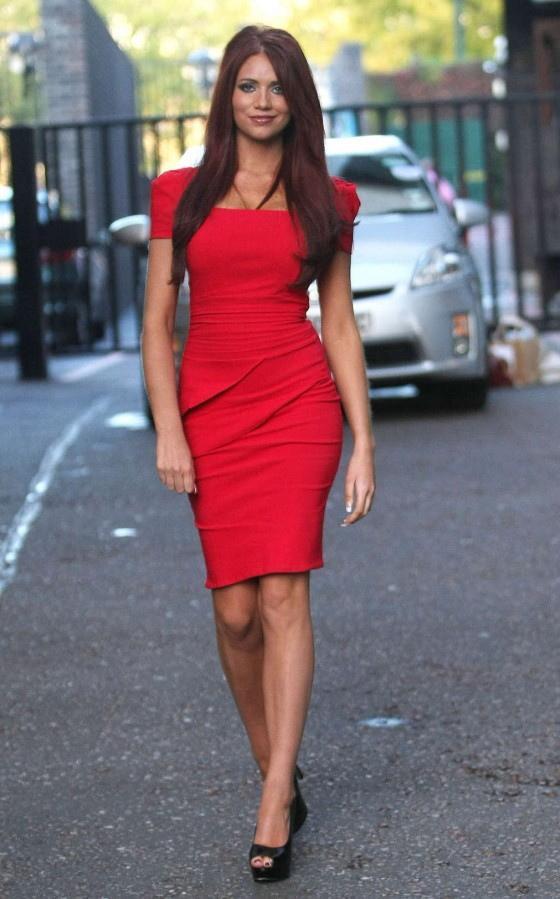 Amy Childs Hot In Red Dress in London-10