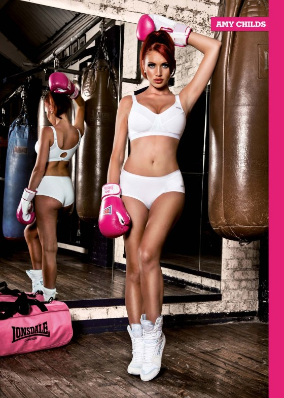 Amy Childs show her hot body in sports bra and shorts in Loaded Magazine
