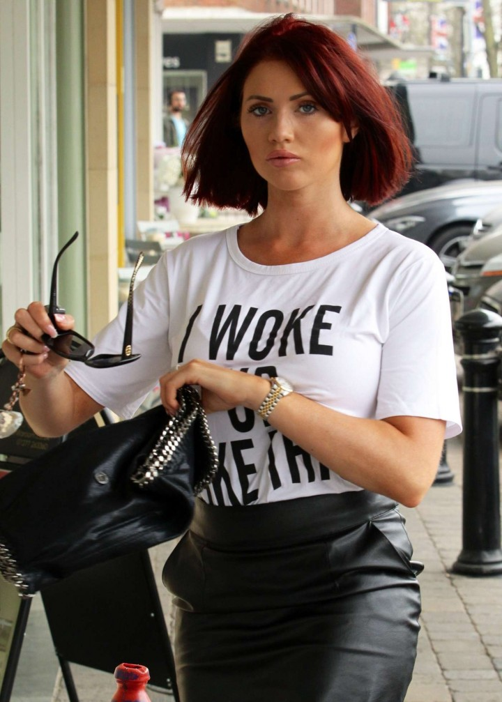 Amy Childs in Leather Skirt -03