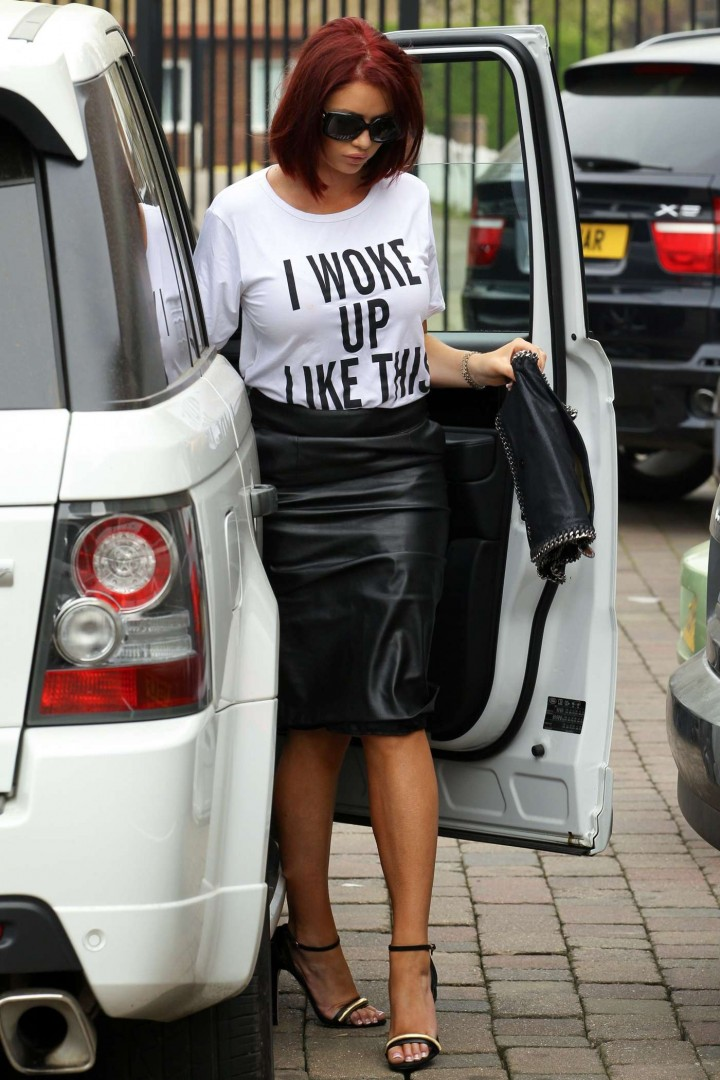 Amy Childs in Leather Skirt -04