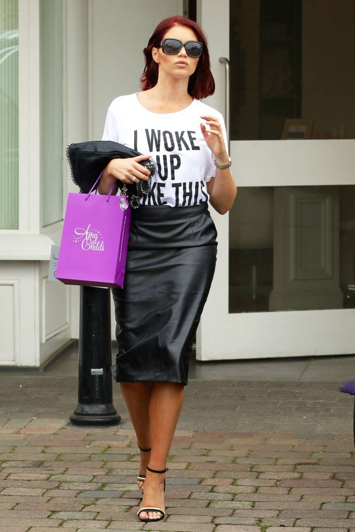 Amy Childs in Leather Skirt -07