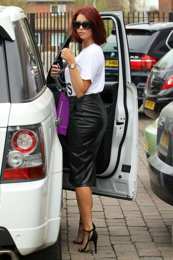 Amy Childs in Leather Skirt -09
