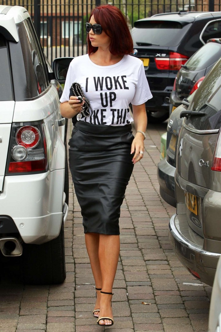 Amy Childs in Leather Skirt -10