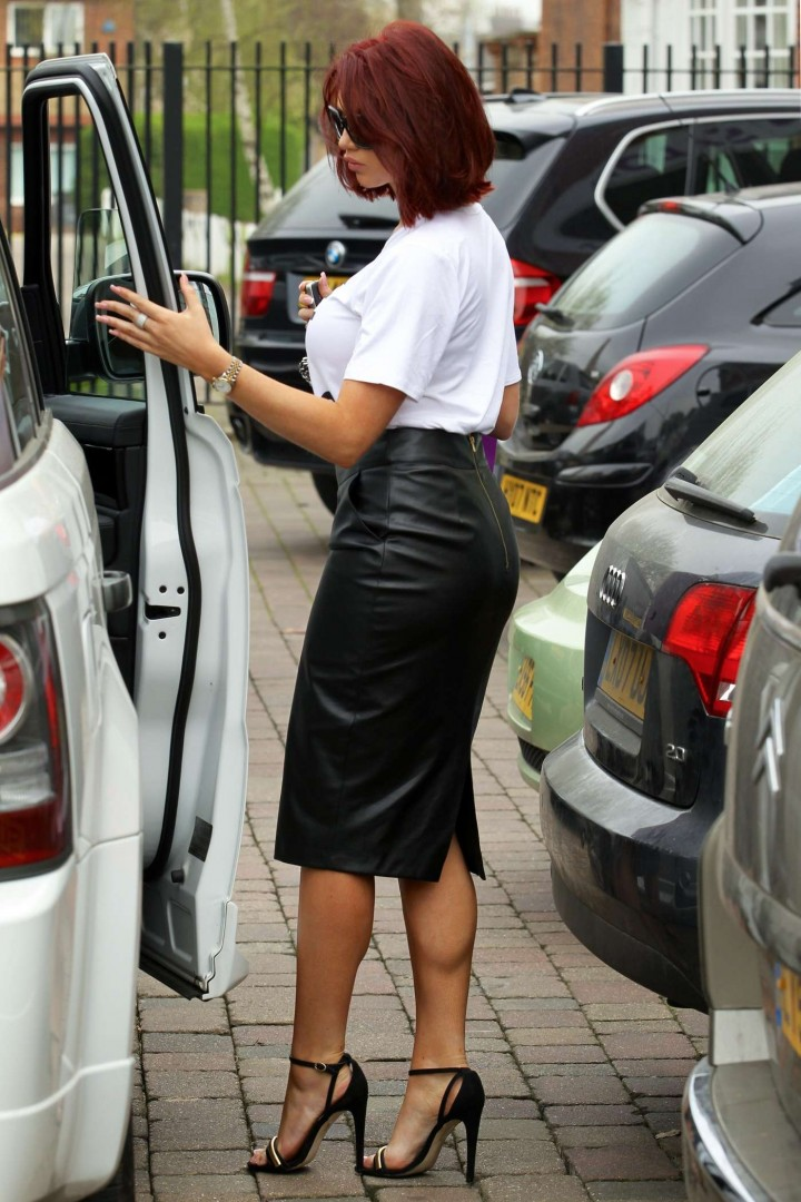 Amy Childs in Leather Skirt -11